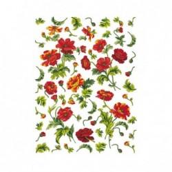 Papier ryżowy do decoupage Digital DGR34, Czerwone kwiaty