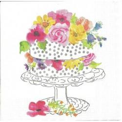 Serwetka do decoupage - Tort z kwiatami