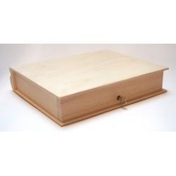Drewniane pudełko - książka zamykane na kluczyk, baza do decoupage