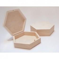 Pudełko drewniane płaskie, sześciokątne