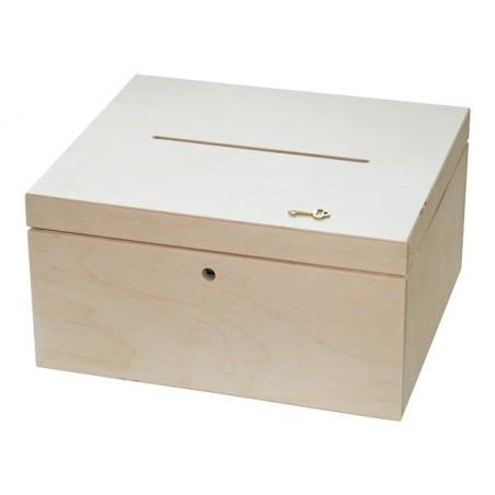 Pudełko drewniane (skarbona ślubna) na koperty 29x24 z kluczykiem