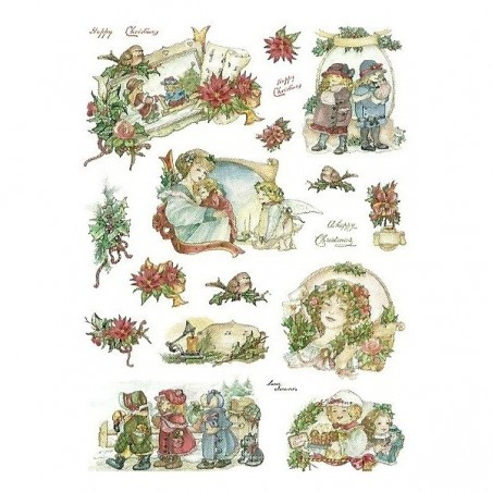 Papier ryżowy Decomania 5261, Happy Christmas