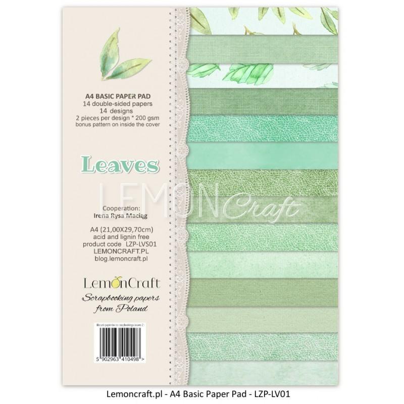 Bloczek A4 papierów do scrapbookingu Liście - Lemoncraft