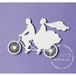 Tekturki do scrapbookingu, W dniu ślubu - Młoda Para na rowerze - Wycinanka