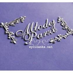 Tekturki do scrapbookingu, Napis Młodej Parze z ornamentami - Wycinanka