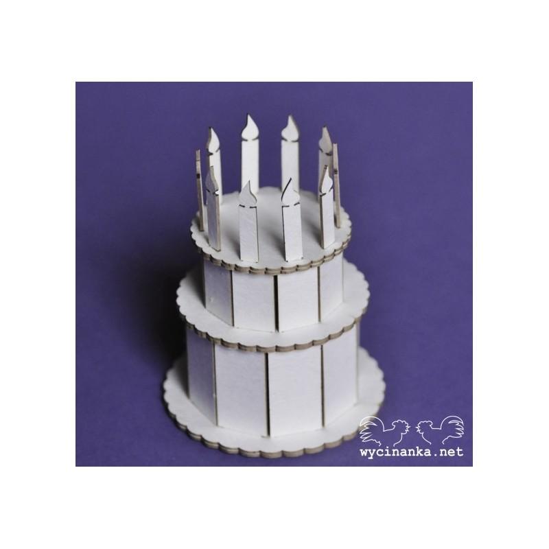 Elementy tekturowe Wycinanka, Tort urodzinowy 3D ze świeczkami