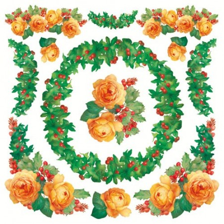 Serwetka ryżowa DFT233, Róże pomarańczowe