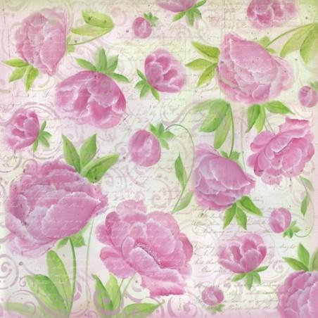 Serwetka ryżowa DFT240, Kwiaty różowe