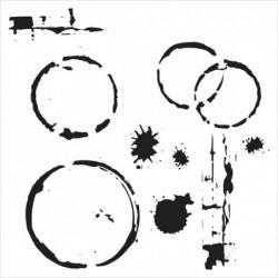 Maska - szablon do technik mixed media, Crafter's Workshop - Coffee Splotch - plamy od kubka