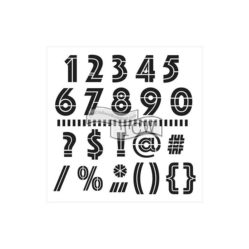 Maska - szablon do technik mixed media, Crafter's Workshop - Art Deco Numbers - liczby