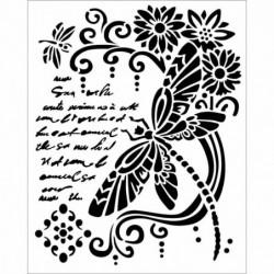 Szablon do past strukturalnych i decoupage, Stamperia - tło z pismem, ważką i kwiatami