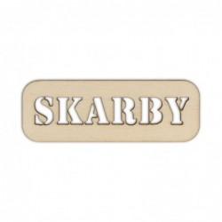 Tabliczka ze sklejki z napisem Skarby