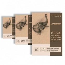 Blok szkicowy z szarym papierem A4