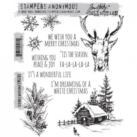 Stemple gumowe do scrapbookingu Stampers Anonymous, Scribble Woodland CMS282