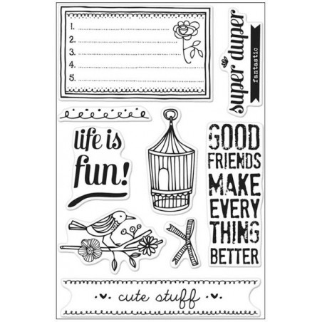 Zestaw stempli akrylowych, Basic Grey Paper Cottage Cling Stamps By Hero Arts, Life Is Fun