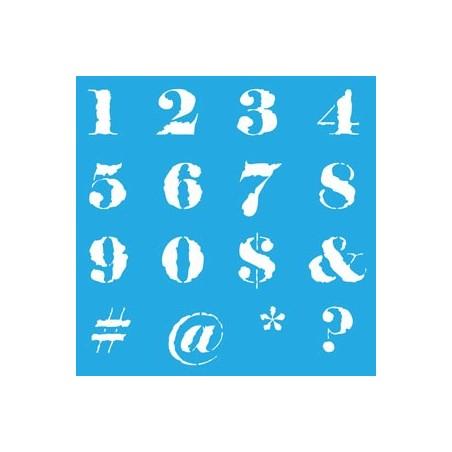 """Maska - szablon 12x12"""", Americana Mixed Media Stencil, Distressed Numbers [ASMM32]"""