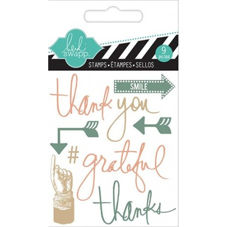 Stemple akrylowe, Heidi Swapp Mixed Media Clear Mini Stamps, Thank You [1126]