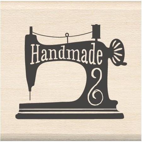Stempel gumowy na drewnie, Inkadinkado Mounted Rubber Stamp, Handmade Sewing