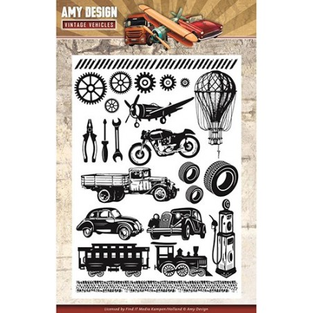 Stemple akrylowe, Find It Trading Amy Design Clear Stamps, Vintage Vehicles [DCS10014]