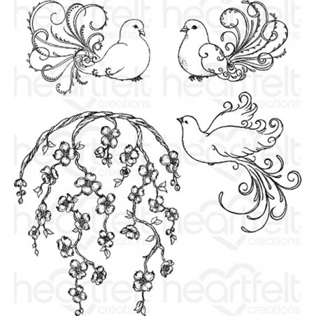Stemple gumowe, Heartfelt Creations Cling Rubber Stamp Set, Flowering Dogwood & Doves [HCPC3775]