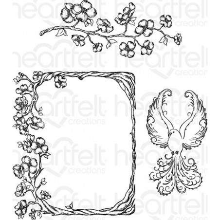 Stemple gumowe, Heartfelt Creations Cling Rubber Stamp Set, Flowering Dogwood Branches [HCPC3774
