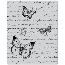 Stempel gumowy, Hero Arts Cling Stamps, Antique Background - rękopis i motyle
