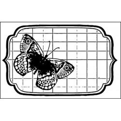 Stempel do scrapbookingu Stamperia WTKCC05, Motyl w ramce