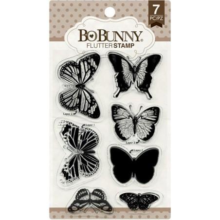 Stemple akrylowe BoBunny, Essentials Stamps, Flutter - motyle