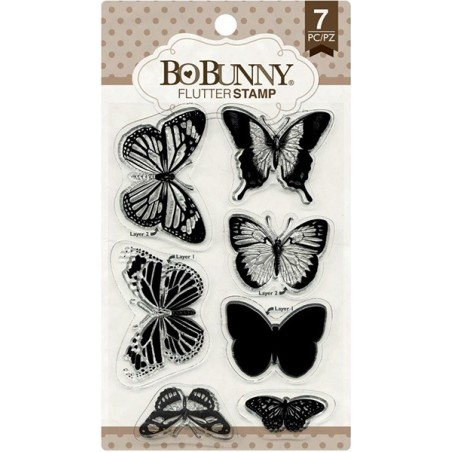 Stemple akrylowe BoBunny, Essentials Stamps, Flutter