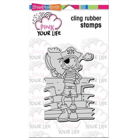 Stempel gumowy, Stampendous Pink Your Life Cling Stamp, Whisper Friends - Pirate Boy