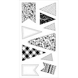 Zestaw stempli akrylowych Inkadinkado I6031255, Banners & Flags