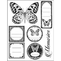 Stemple kauczukowe Stamperia WTKCC65, Etykiety i motyle