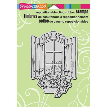 Stempel gumowy Stampendous, Window Kitty [CRP301]