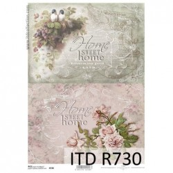Papier ryżowy do decoupage A4 ITD R0730, Home sweet home