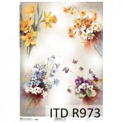 Papier ryżowy do decoupage ITD R0973, Mix bukietów