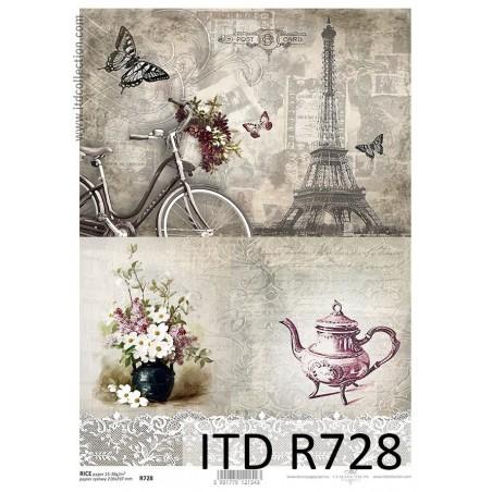 Papier ryżowy A4 ITD R0728, Herbatka w Paryżu