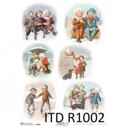 Papier do decoupage ryżowy A4 ITD R1002, dzieci, zima, vintage