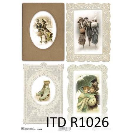 Papier ryżowy A4 ITD R1026, Zima Vintage 1