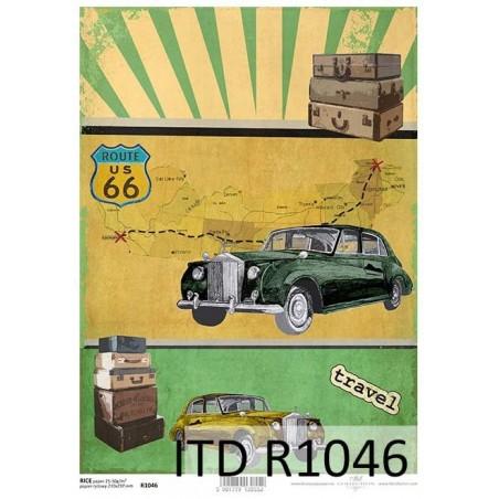 Papier ryżowy A4 ITD R1046, Samochody retro
