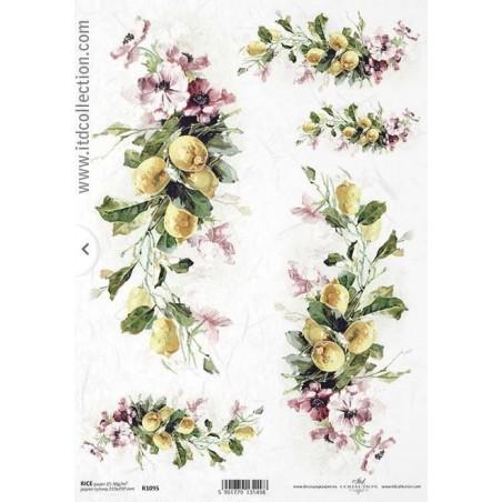 Papier ryżowy A4 ITD R1095, Cytryny i kwiaty