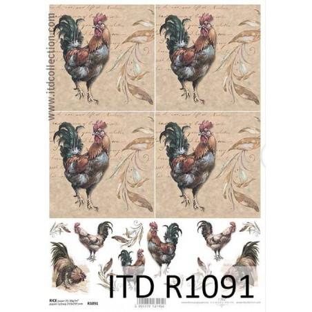 Papier ryżowy A4 ITD R1091, Koguty