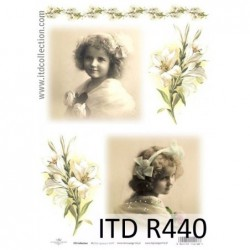 Papier ryżowy do decoupage ITD R440, Dziewczynka vintage