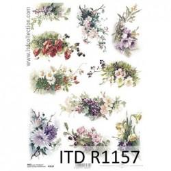 Papier ryżowy do decoupage, polne kwiaty, bukiety  - ITD R1157