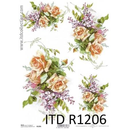 Papier ryżowy A4 ITD R1206, Kwiaty