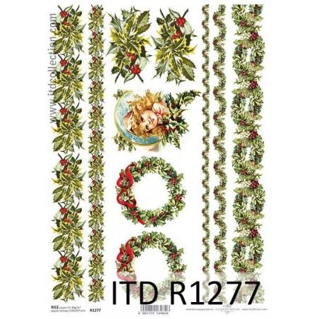 Papier ryżowy A4 ITD R1277, Świąteczne girlandy