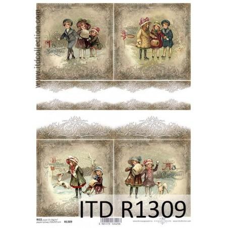 Papier ryżowy do decoupage A4 ITD R1309 - Zimowe scenki  z dziećmi