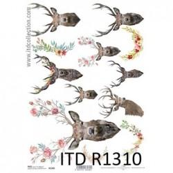 Papier ryżowy do decoupage A4 ITD R1310, Popiersia jeleni