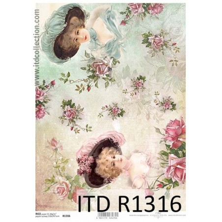 Papier ryżowy A4 ITD R1316, Dwie damy