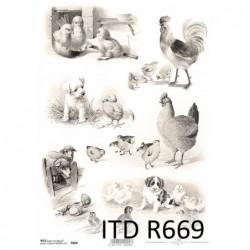 Papier ryżowe do decoupage ITD669, Wielkanoc 3 - wiejskie zwierzęta
