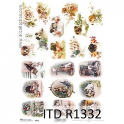 Papier ryżowy do decoupage, wiejsce życie, psy, kaczki  - ITD R1332